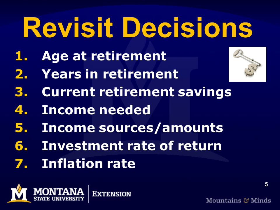 5 Revisit Decisions 1. Age at retirement 2. Years in retirement 3.