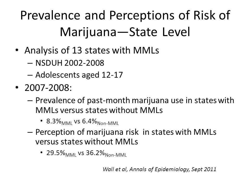 Prevalence and Perceptions of Risk of Marijuana—State Level Analysis of 13 states with MMLs – NSDUH 2002-2008 – Adolescents aged 12-17 2007-2008: – Pr