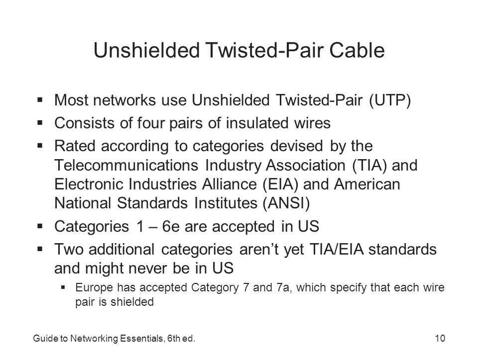 Guide to Networking Essentials, 6th ed.11 Unshielded Twisted-Pair Cabling CharacteristicValue Maximum cable length100 m (328 ft.) BandwidthUp to 1000 Mbps Bend radiusMinimum four times the cable diameter or 1 inch Installation and maintenanceEasy to install, no need to reroute; the most flexible CostLeast expensive of all cabling options Connector typeRJ-45 plug, RJ-45 jack, and patch panels SecurityModerately susceptible to eavesdropping Signaling rates100 MHz for Cat 5e; 250 MHz for Cat 6 Categories 5e and 6 UTP Cabling Characteristics These categories are the most popular types of UTP cabling in today's networks
