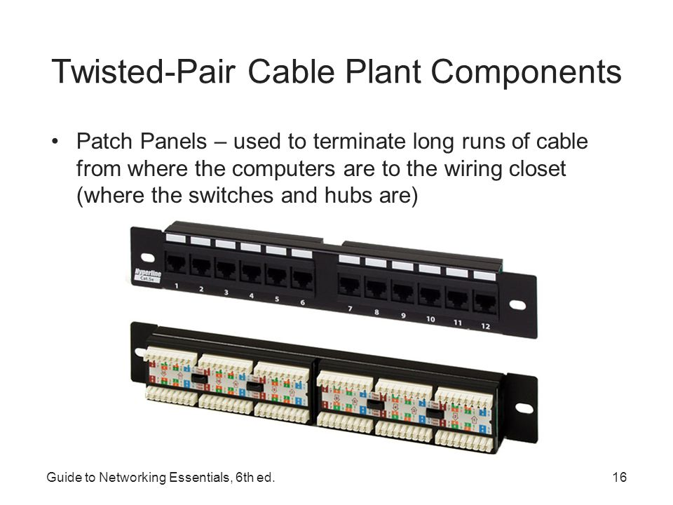 Guide to Networking Essentials, 6th ed.17 Twisted-Pair Cable Plant Components Distribution racks – hold network equipment such as routers and switches, plus patch panels and rack-mounted servers –Also called 19 racks because the upright rails are 19 apart