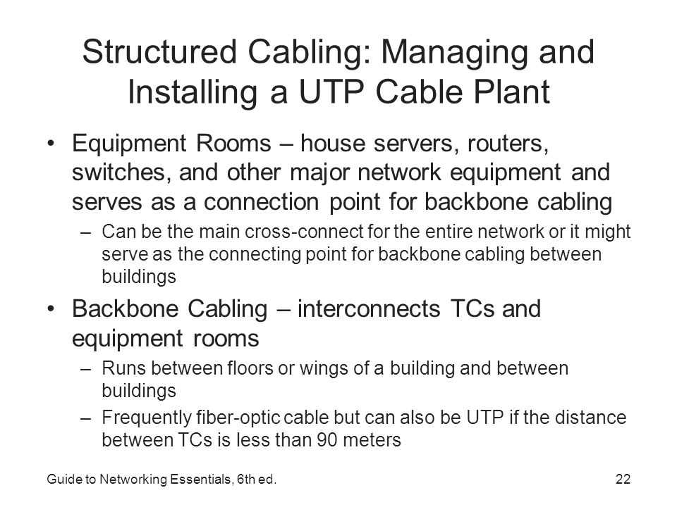 Structured Cabling: Managing and Installing a UTP Cable Plant Backbone Cabling Guide to Networking Essentials, 6th ed.23