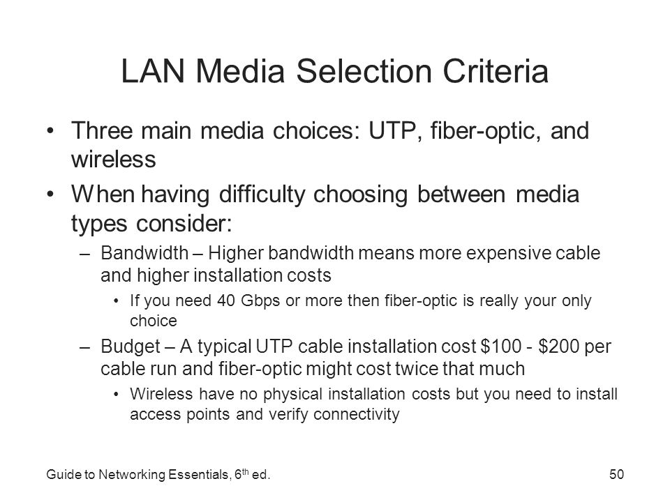 LAN Media Selection Criteria Environmental considerations – How electrically noisy is the environment.