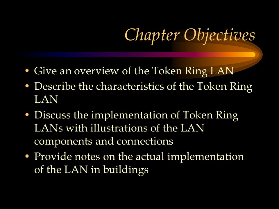 Chapter Modules An Overview of Token Ring LANs Token Ring Basic Characteristics Implementation of Token Ring More notes on implementation