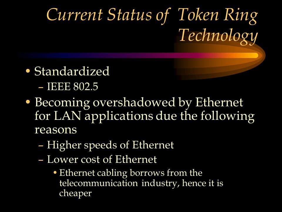 Current Status of Token Ring Technology Standardized –IEEE 802.5 Becoming overshadowed by Ethernet for LAN applications due the following reasons –Higher speeds of Ethernet –Lower cost of Ethernet Ethernet cabling borrows from the telecommunication industry, hence it is cheaper