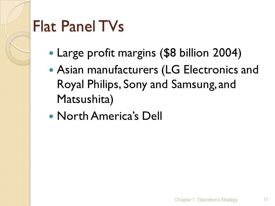 Flat Panel TVs Large profit margins ($8 billion 2004) Asian manufacturers (LG Electronics and Royal Philips, Sony and Samsung, and Matsushita) North A