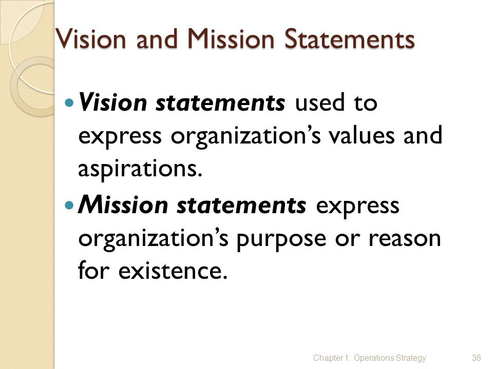Vision and Mission Statements Vision statements used to express organization's values and aspirations. Mission statements express organization's purpo