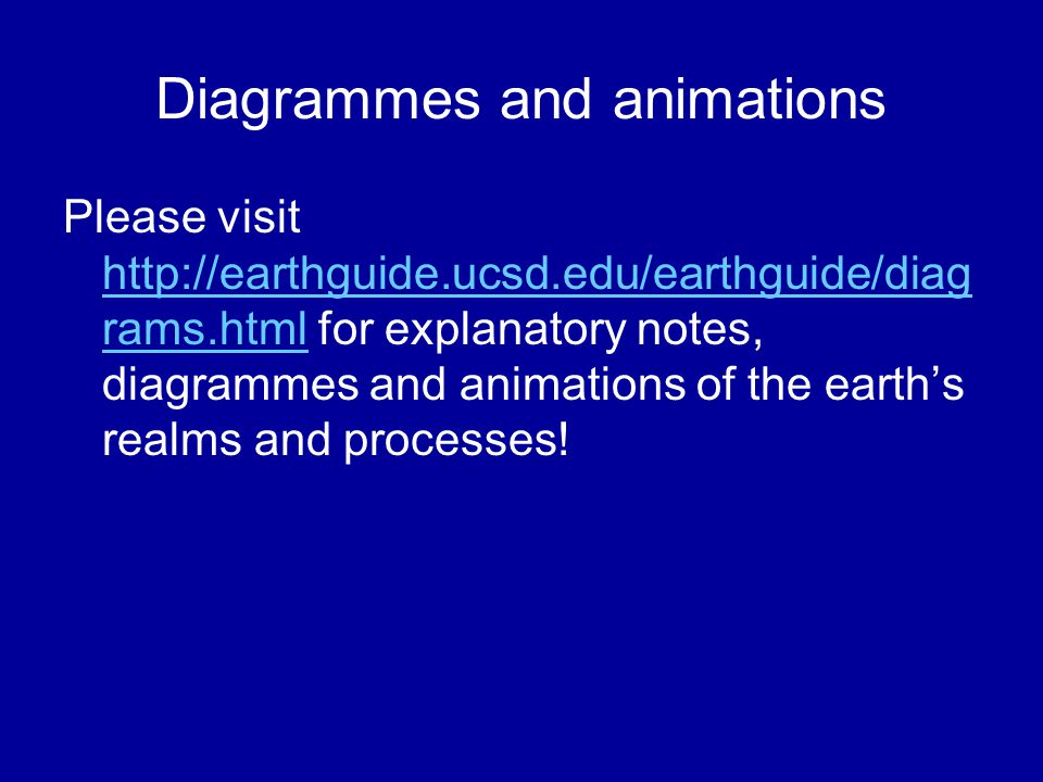 Diagrammes and animations Please visit http://earthguide.ucsd.edu/earthguide/diag rams.html for explanatory notes, diagrammes and animations of the earth's realms and processes.