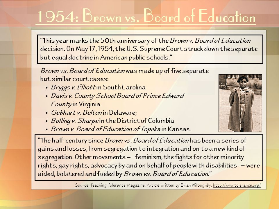 1954: Brown vs.Board of Education Brown vs.