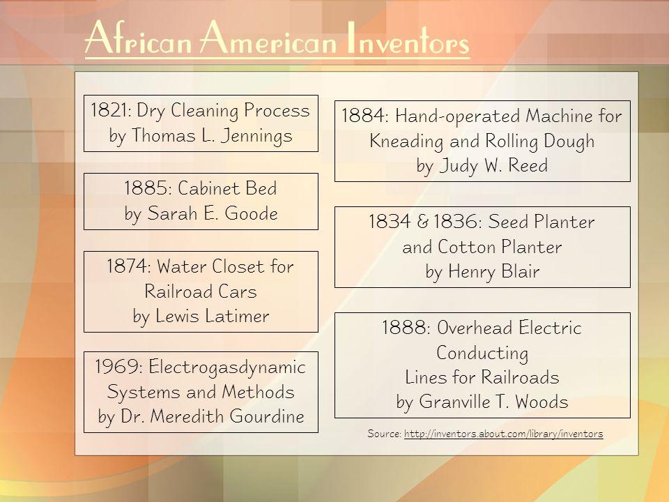 African American Inventors 1821: Dry Cleaning Process by Thomas L. Jennings 1884: Hand-operated Machine for Kneading and Rolling Dough by Judy W. Reed
