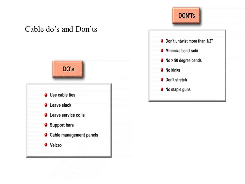 Cable do's and Don'ts