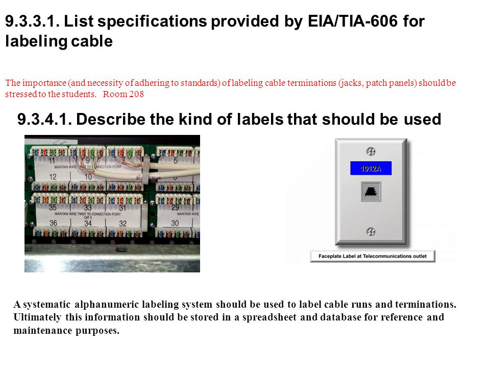 9.3.3.1. List specifications provided by EIA/TIA-606 for labeling cable The importance (and necessity of adhering to standards) of labeling cable term