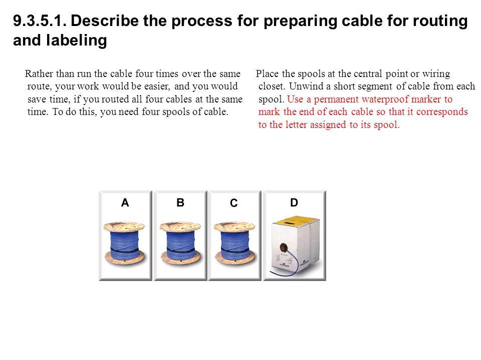 9.3.5.1. Describe the process for preparing cable for routing and labeling Place the spools at the central point or wiring closet. Unwind a short segm