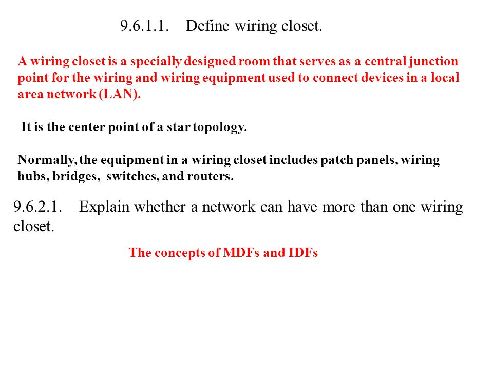 9.6.1.1. Define wiring closet. A wiring closet is a specially designed room that serves as a central junction point for the wiring and wiring equipmen