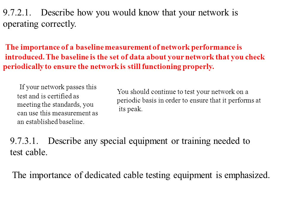 9.7.2.1.Describe how you would know that your network is operating correctly.