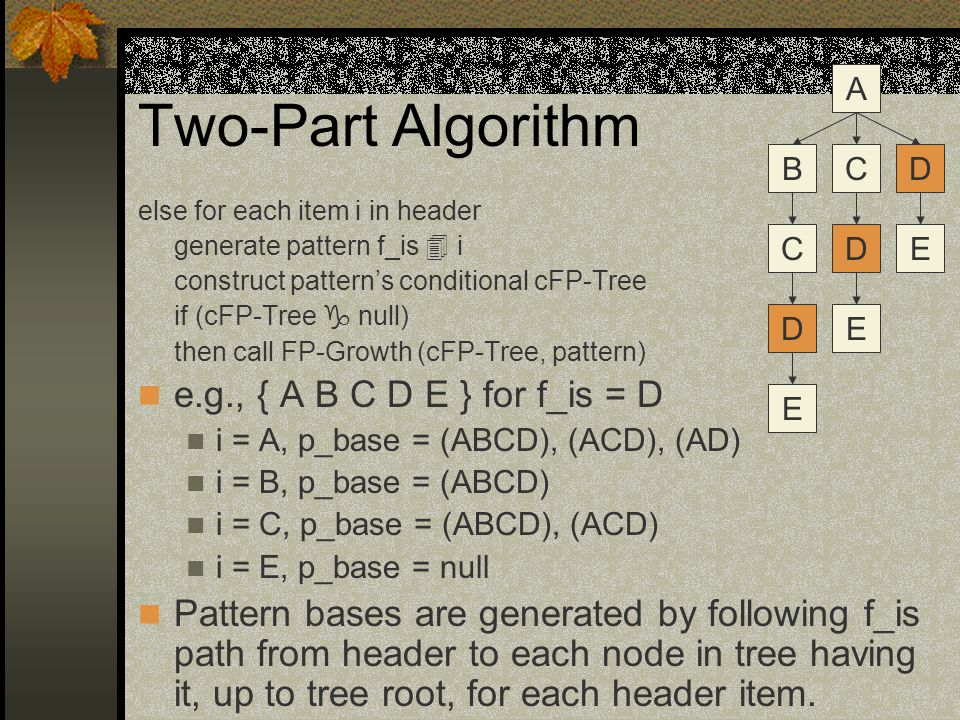 Two-Part Algorithm else for each item i in header generate pattern f_is  i construct pattern's conditional cFP-Tree if (cFP-Tree  null) then call FP-Growth (cFP-Tree, pattern) e.g., { A B C D E } for f_is = D i = A, p_base = (ABCD), (ACD), (AD) i = B, p_base = (ABCD) i = C, p_base = (ABCD), (ACD) i = E, p_base = null Pattern bases are generated by following f_is path from header to each node in tree having it, up to tree root, for each header item.