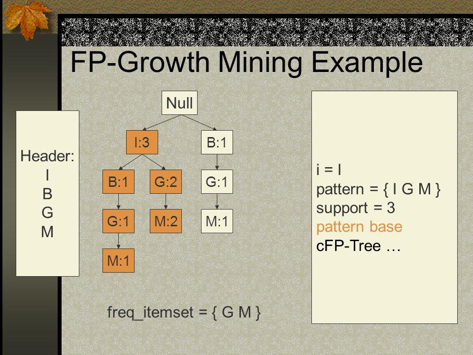FP-Growth Mining Example Null G:1 G:2B:1 I:3 M:2M:1 G:1 B:1 Header: I B G M i = I pattern = { I G M } support = 3 pattern base cFP-Tree … freq_itemset = { G M } M:1