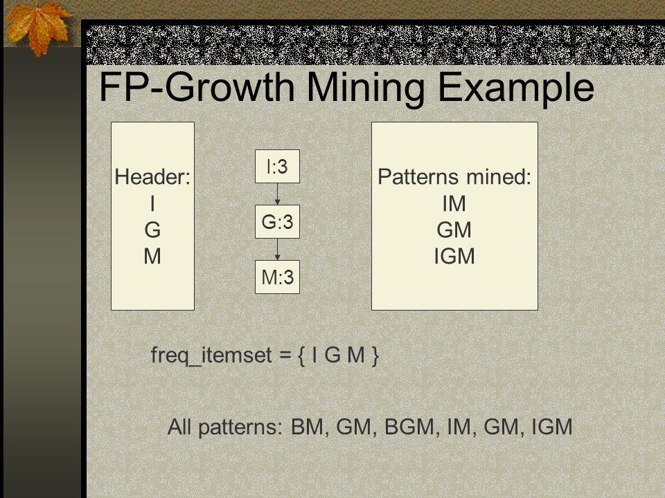 FP-Growth Mining Example M:3 G:3 I:3 Header: I G M Patterns mined: IM GM IGM freq_itemset = { I G M } All patterns: BM, GM, BGM, IM, GM, IGM