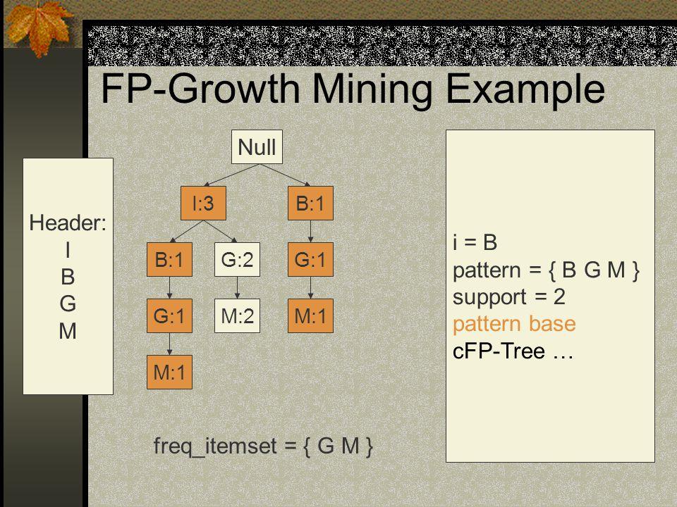 FP-Growth Mining Example Null G:1 G:2B:1 I:3 M:2M:1 G:1 B:1 Header: I B G M i = B pattern = { B G M } support = 2 pattern base cFP-Tree … freq_itemset = { G M } M:1