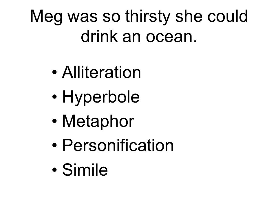 Meg was so thirsty she could drink an ocean. Alliteration Hyperbole Metaphor Personification Simile