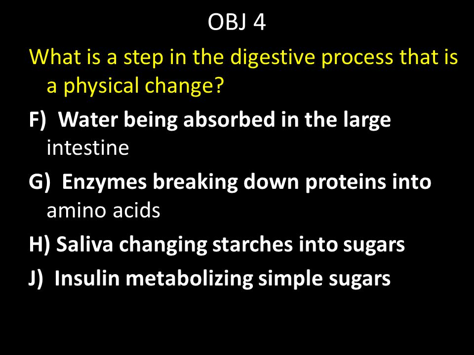 OBJ 4 What is a step in the digestive process that is a physical change? F) Water being absorbed in the large intestine G) Enzymes breaking down prote
