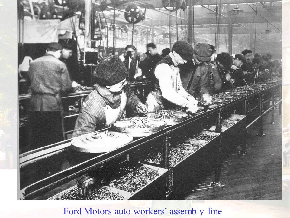 Ford Motors auto workers' assembly line