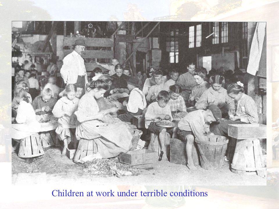 Children at work under terrible conditions