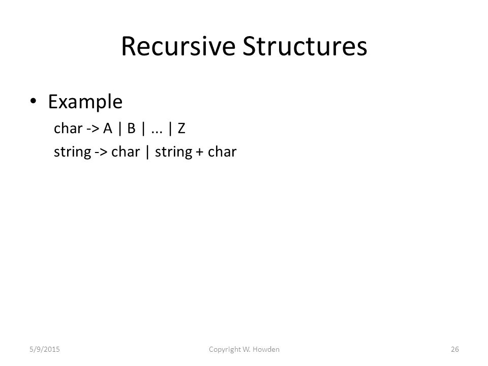Recursive Structures Example char -> A | B |...
