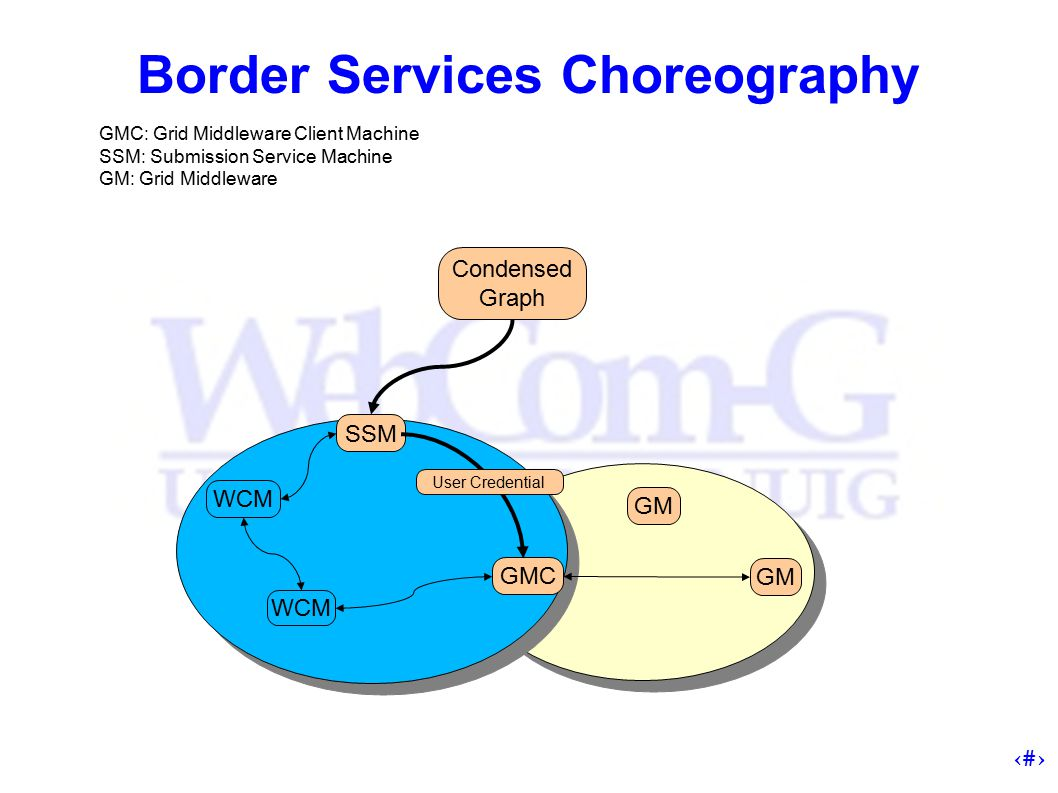 13 Border Services Choreography SSM WCM GM GMC GM Condensed Graph GMC: Grid Middleware Client Machine SSM: Submission Service Machine GM: Grid Middleware User Credential
