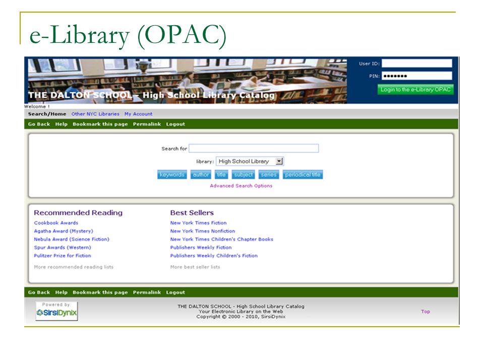 e-Library (OPAC)