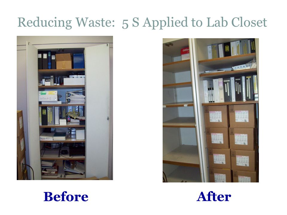 Before After Reducing Waste: 5 S Applied to Lab Closet