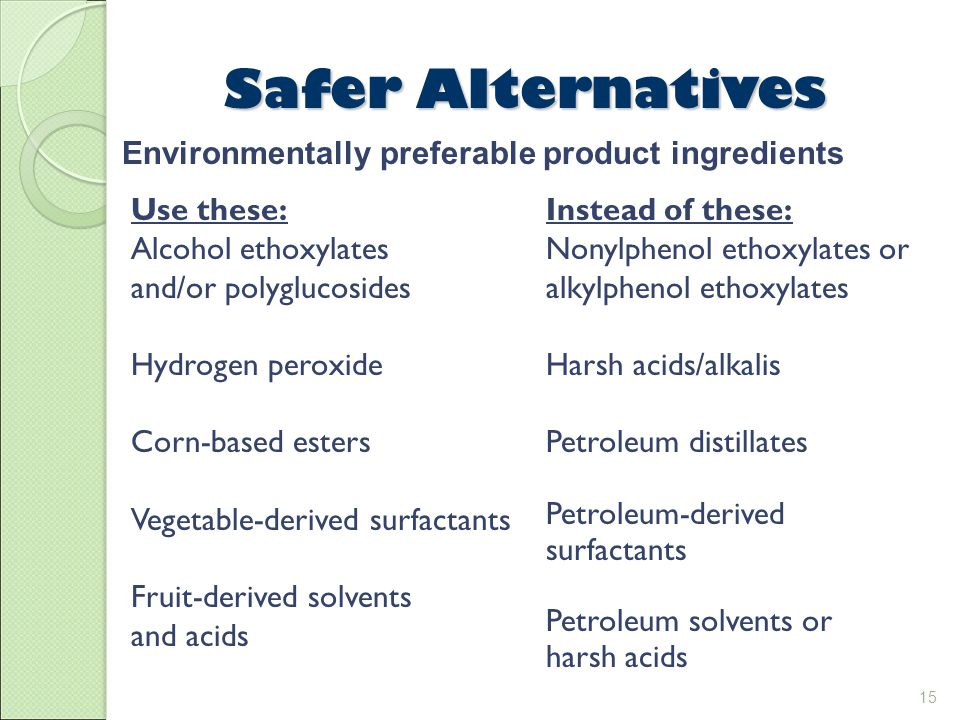 15 Safer Alternatives Use these: Alcohol ethoxylates and/or polyglucosides Hydrogen peroxide Corn-based esters Vegetable-derived surfactants Fruit-derived solvents and acids Environmentally preferable product ingredients Instead of these: Nonylphenol ethoxylates or alkylphenol ethoxylates Harsh acids/alkalis Petroleum distillates Petroleum-derived surfactants Petroleum solvents or harsh acids