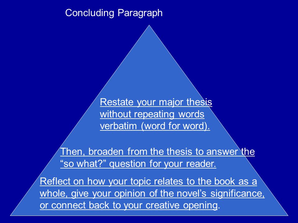 Concluding Paragraph Restate your major thesis without repeating words verbatim (word for word).