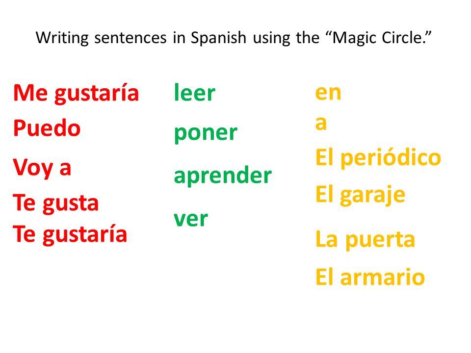 """Writing sentences in Spanish using the """"Magic Circle."""" Me gustaría Te gusta Voy a Puedo Te gustaría leer poner aprender ver en a El periódico El garaj"""