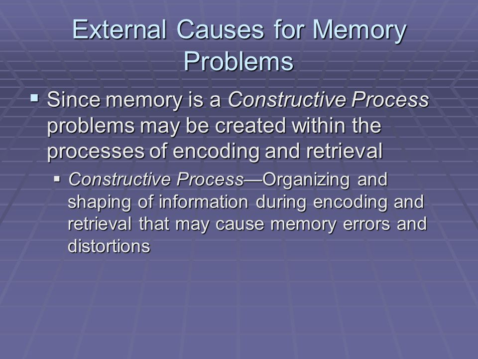 External Causes for Memory Problems  Since memory is a Constructive Process problems may be created within the processes of encoding and retrieval 