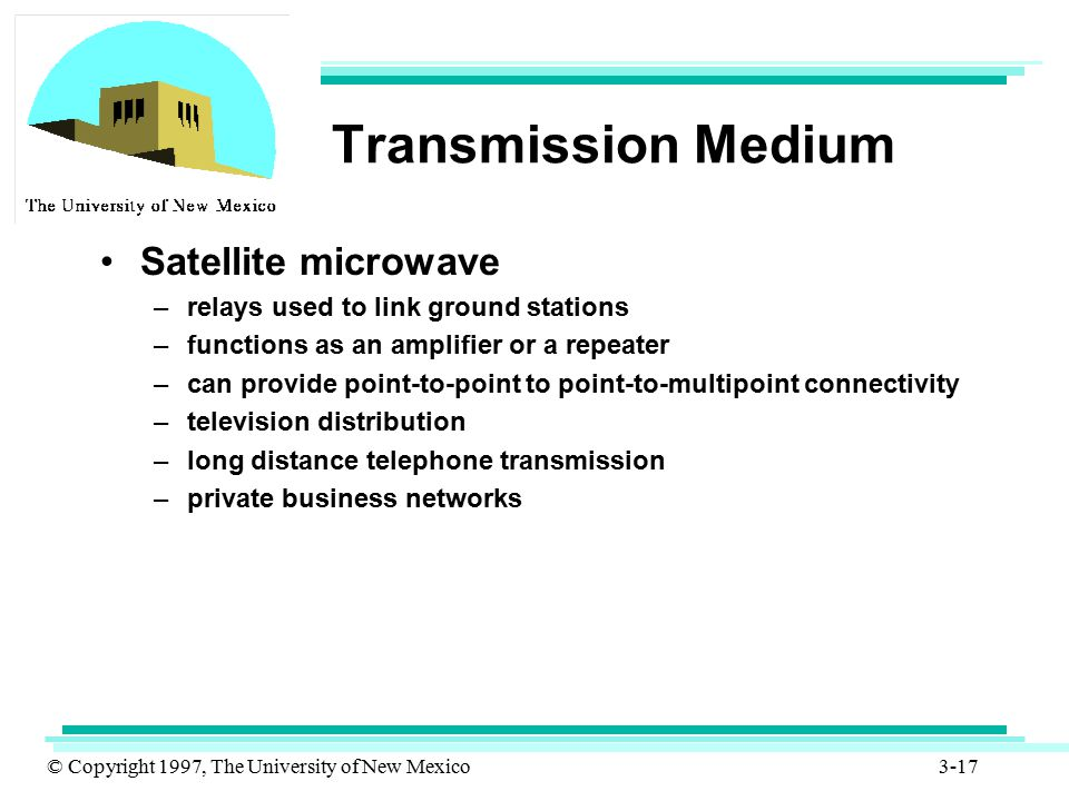 © Copyright 1997, The University of New Mexico 3-17 Transmission Medium Satellite microwave –relays used to link ground stations –functions as an ampl