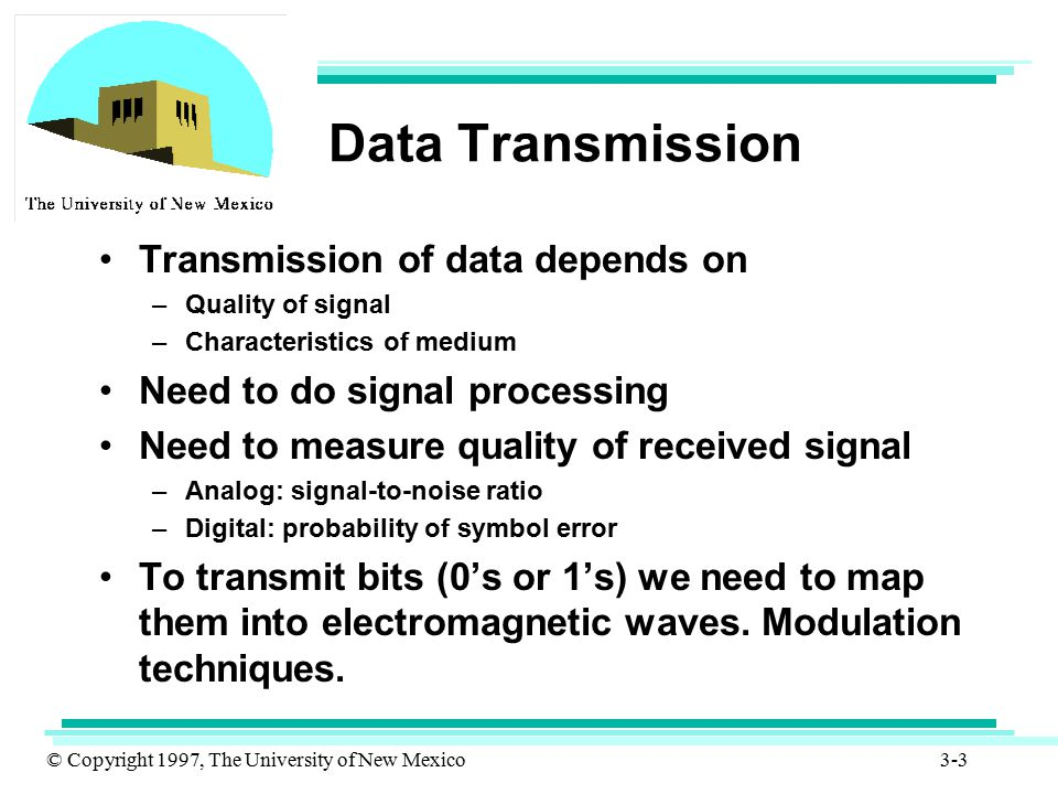 © Copyright 1997, The University of New Mexico 3-44 Optical fibers (Cont.) Since most of the data that need to be transmitted are in the form of electrical signals, these signals must be converted to light signals before they can be transmitted by optical fibers.
