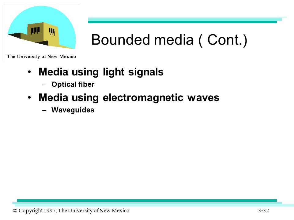 © Copyright 1997, The University of New Mexico 3-32 Bounded media ( Cont.) Media using light signals –Optical fiber Media using electromagnetic waves