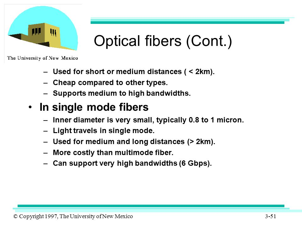 © Copyright 1997, The University of New Mexico 3-51 Optical fibers (Cont.) –Used for short or medium distances ( < 2km). –Cheap compared to other type