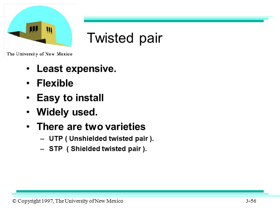 © Copyright 1997, The University of New Mexico 3-56 Twisted pair Least expensive. Flexible Easy to install Widely used. There are two varieties –UTP (
