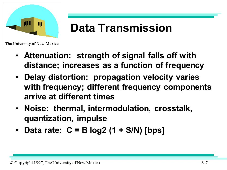 © Copyright 1997, The University of New Mexico 3-58 UTP (Cont.) For data transmission 3 categories of UTP cabling can be used –Category 3 (cat 3 is for data rates upto 16 Mbps) –Category 4 (cat 4 is for data rates upto 20 Mbps) –Category 5 (cat 5 is for data rates upto 100 Mbps and even 155Mbps for limited distances)