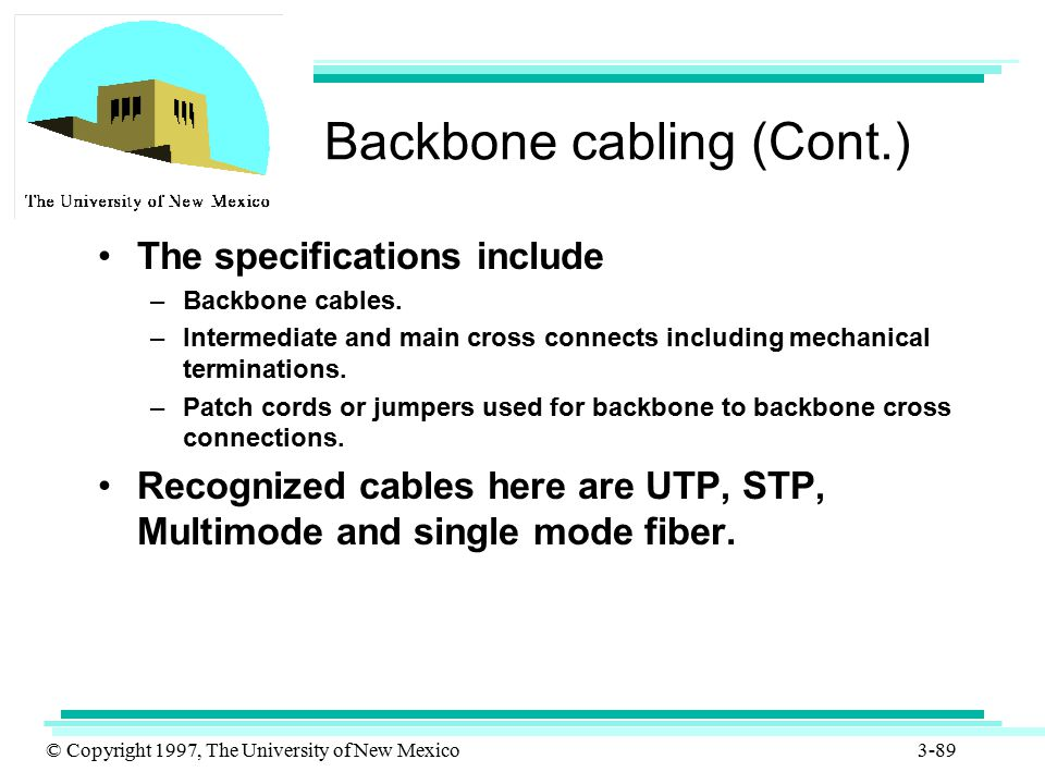 © Copyright 1997, The University of New Mexico 3-89 Backbone cabling (Cont.) The specifications include –Backbone cables. –Intermediate and main cross
