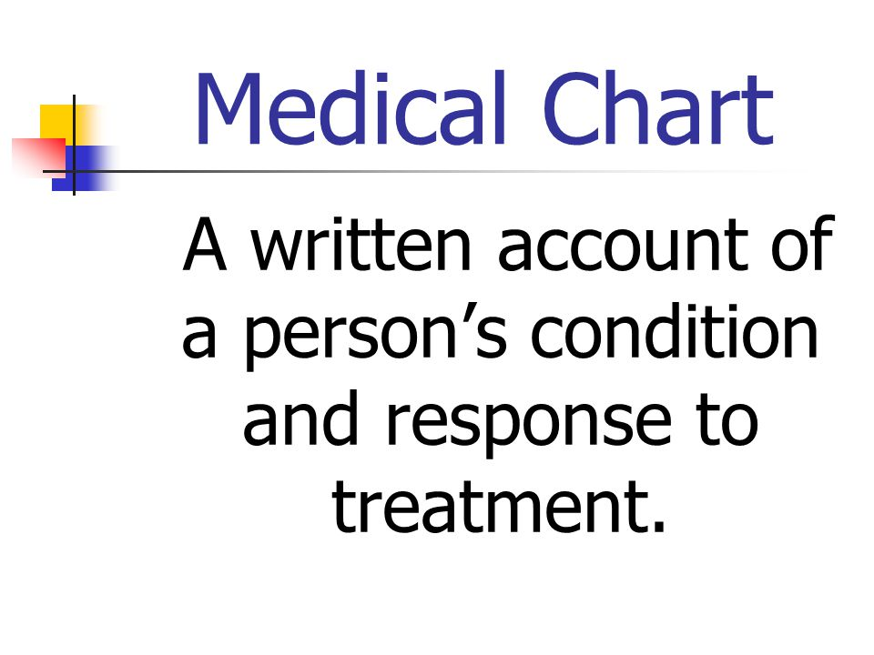 Medical Chart A written account of a person's condition and response to treatment.