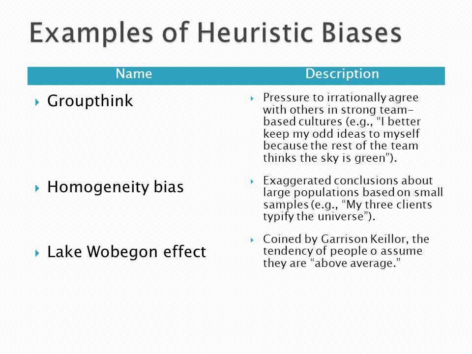 NameDescription  Groupthink  Homogeneity bias  Lake Wobegon effect  Pressure to irrationally agree with others in strong team- based cultures (e.g., I better keep my odd ideas to myself because the rest of the team thinks the sky is green ).
