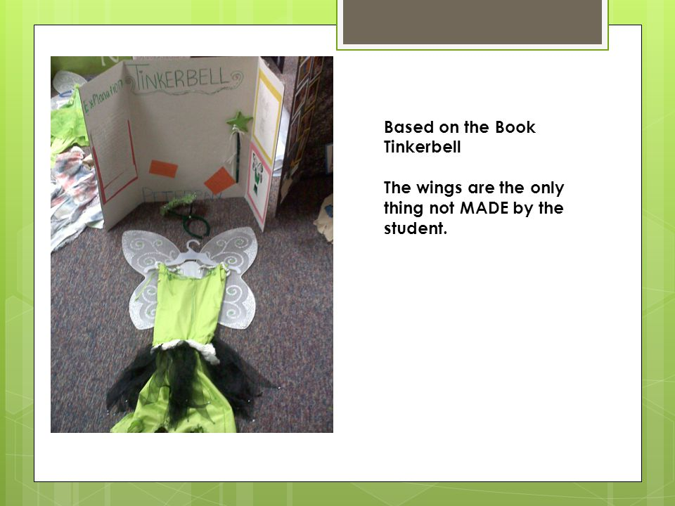 Based on the Book Tinkerbell The wings are the only thing not MADE by the student.