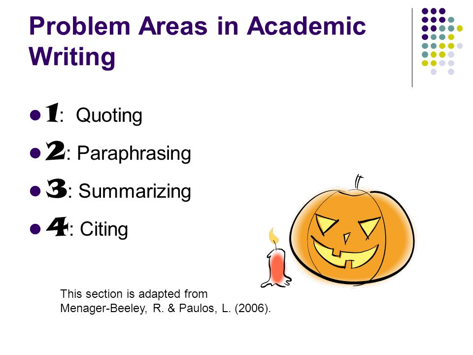 Problem Areas in Academic Writing 1 : Quoting 2 : Paraphrasing 3 : Summarizing 4 : Citing This section is adapted from Menager-Beeley, R.