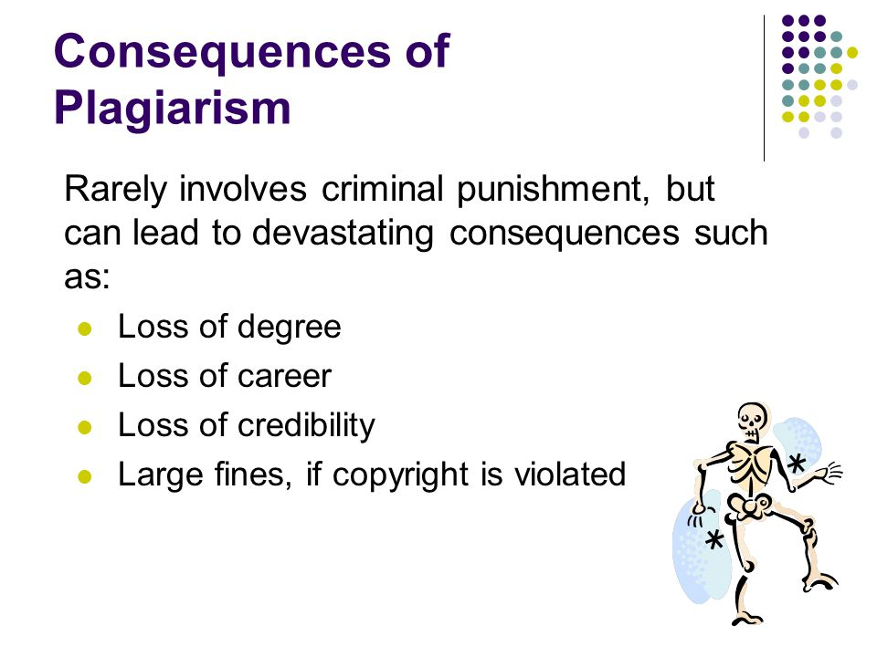 Consequences of Plagiarism Rarely involves criminal punishment, but can lead to devastating consequences such as: Loss of degree Loss of career Loss of credibility Large fines, if copyright is violated