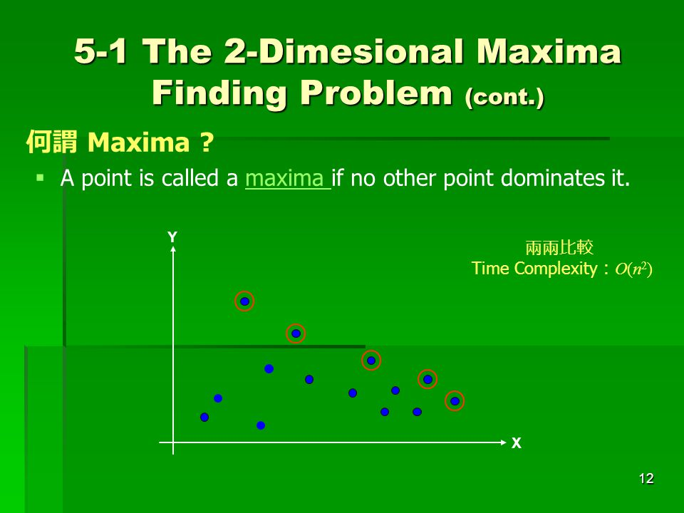 12  A point is called a maxima if no other point dominates it. 何謂 Maxima ? 5-1 The 2-Dimesional Maxima Finding Problem (cont.) X Y 兩兩比較 Time Complexi