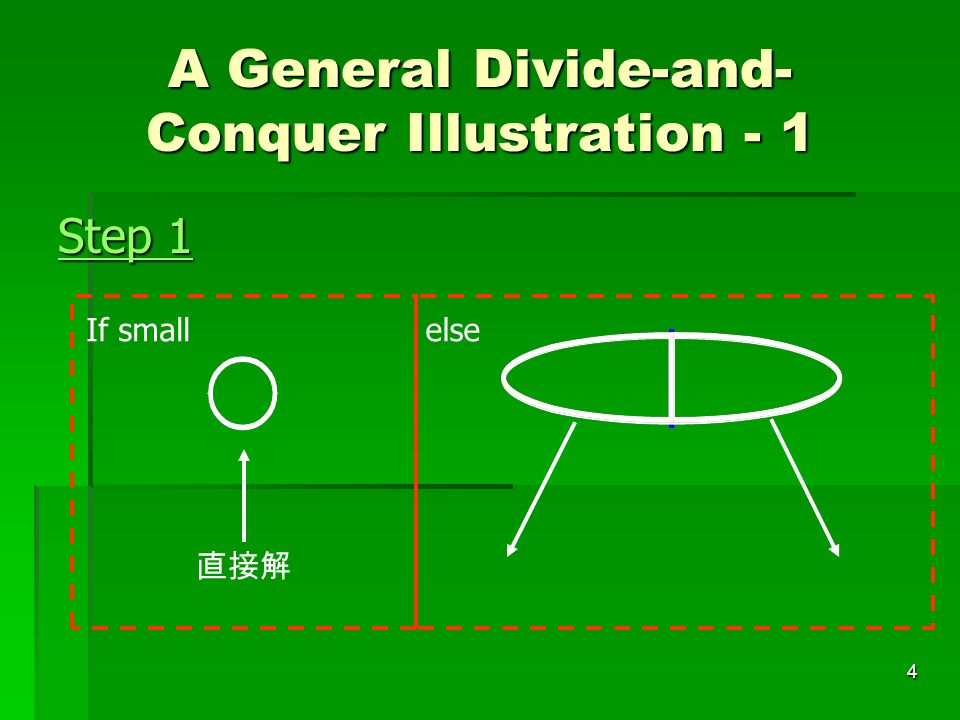 4 A General Divide-and- Conquer Illustration - 1 Step 1 直接解 If smallelse