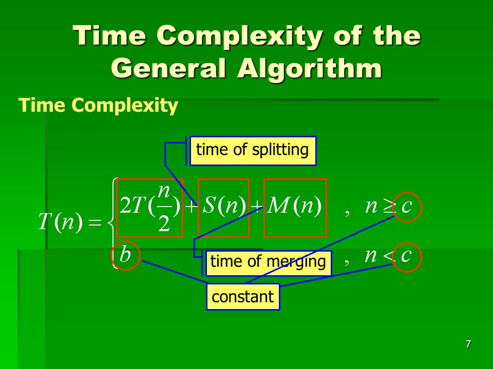 7 Time Complexity of the General Algorithm Time Complexity time of splitting time of merging constant