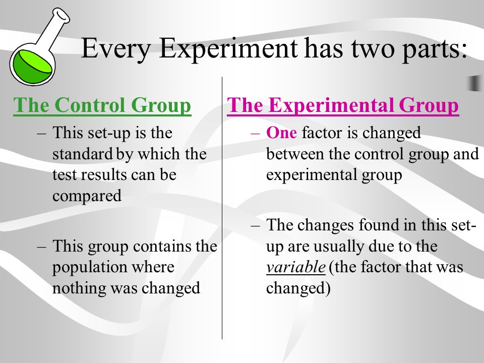 Every Experiment has two parts: The Control Group –This set-up is the standard by which the test results can be compared –This group contains the popu